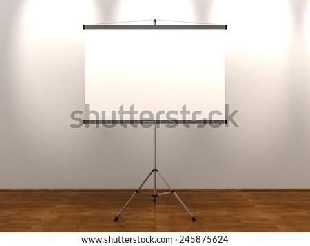 Blank Presentation Roller Screen on Tripod at Studio Interior Background - stock photo