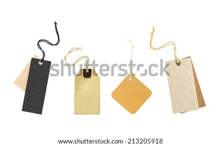 blank price label collection on white background - stock photo