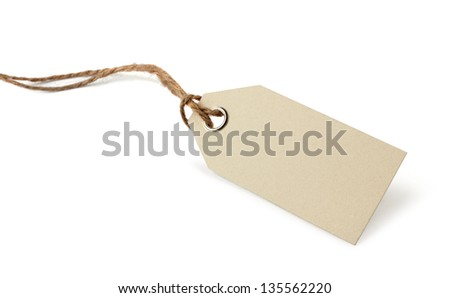 Blank price or address tag with natural ribbon twine, isolated on white