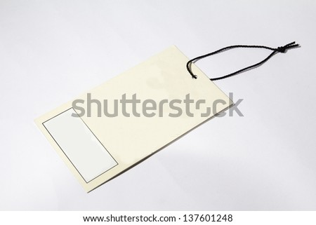 Blank price tag brown on white background with soft shadow