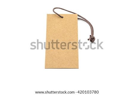 Blank price tag isolated on white background - stock photo