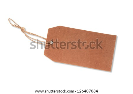 Blank price tag with strings isolated on the white background - stock photo