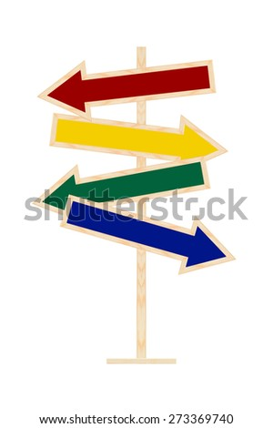 Blank Primary Color Directional Arrows wood isolated on white background - stock photo
