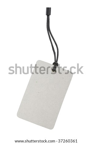 Blank product info label isolated on white background with clipping path