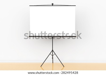 Blank Projection Screen in front of the wall - stock photo