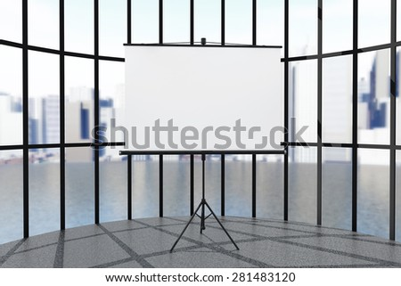 Blank Projection Screen in front of windows - stock photo