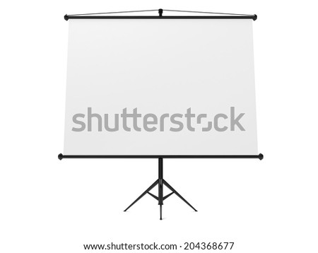 Blank Projection screen isolated on white background