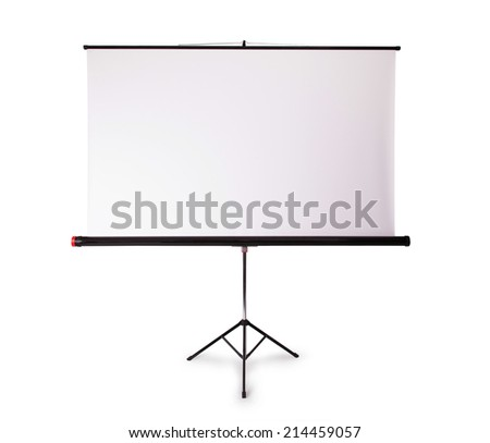Blank projection screen with copy-space, isolated on white