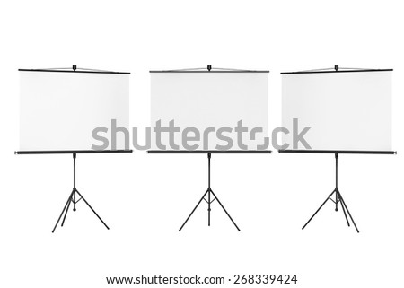 Blank Projection Screens on a white background - stock photo