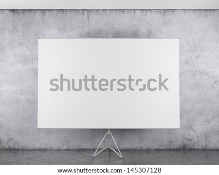 Blank projector canvas in the interior - stock photo