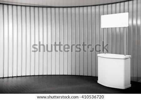 Blank Promotion Stand in front of wall. 3d Rendering - stock photo