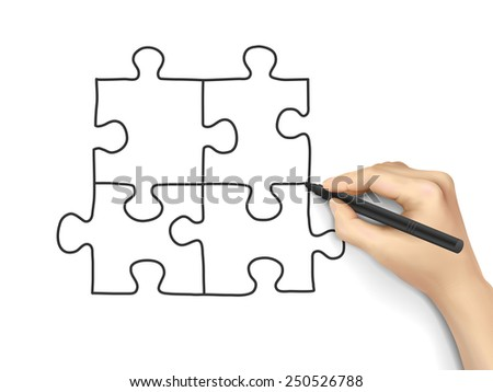 blank puzzle drawn by hand isolated on white background - stock photo
