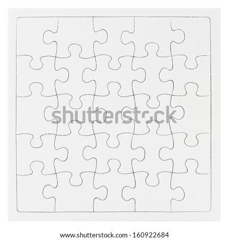 Blank Puzzle isolated on white background - stock photo
