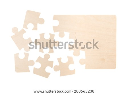 Blank Puzzle Pieces - stock photo