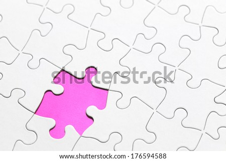 Blank Puzzle with Missing Piece in Pink. - stock photo