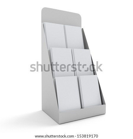 blank rack or stand with magazines - stock photo