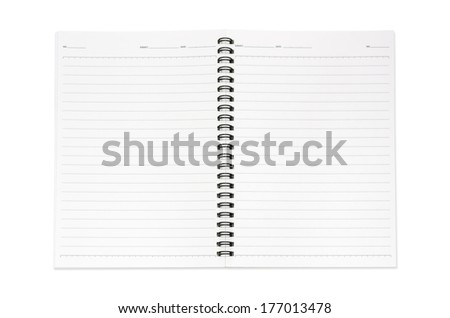 Blank realistic spiral notepad, notebook isolated on white background with clipping paths.