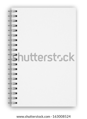 blank realistic spiral notepad notebook isolated on white, 3d - stock photo