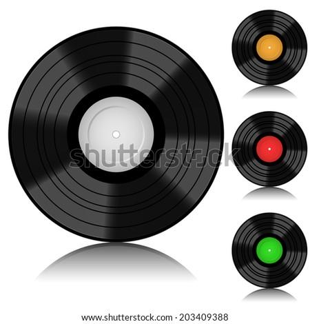 Blank realistic vinyl isolated on white background. - stock photo