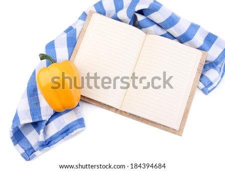 Blank recipe book isolated on white - stock photo
