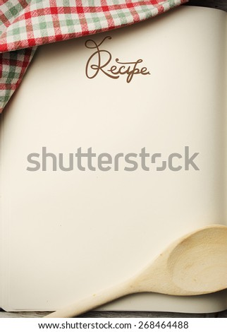 Blank recipe book on wooden table  - stock photo
