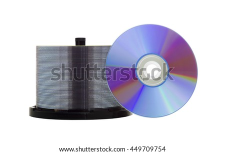 Blank recordable DVD discs on white