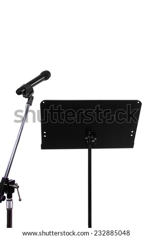 blank recording studio with microphone and text space - stock photo