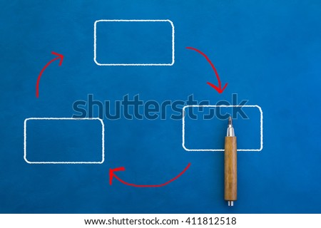 blank rectangle diagram drawn by hand on blue background with sharp pencil - stock photo