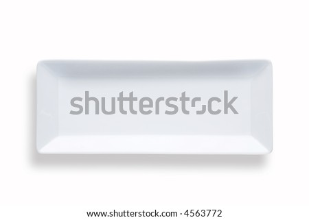 blank rectangular sushi dish over white background with shadow
