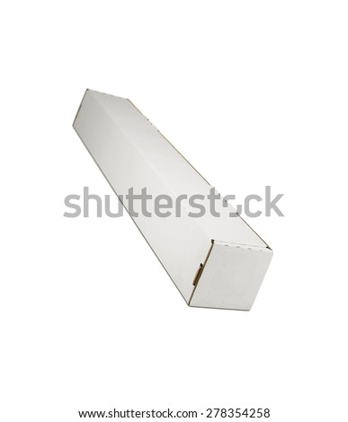 Blank recycled cardboard box on a white background - stock photo