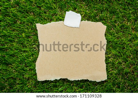 Blank recycled note paper on green grass background - stock photo