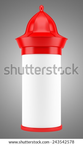 blank red advertising column isolated on gray background - stock photo