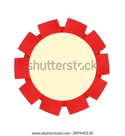 Blank red award winning ribbon rosette isolated on White Background - stock photo