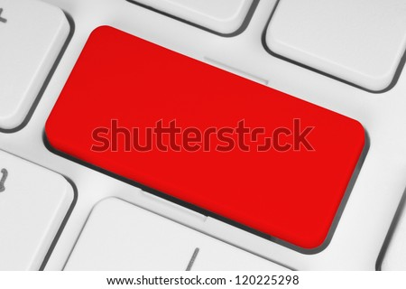 Blank red button on the keyboard close-up - stock photo
