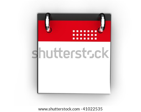 blank red calendar icon isolated - stock photo