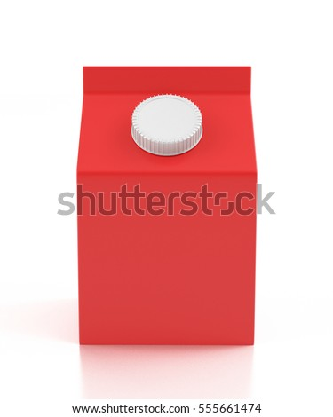 Blank red carton liquid container. Isolated on white background. Include clipping path. 3d render
