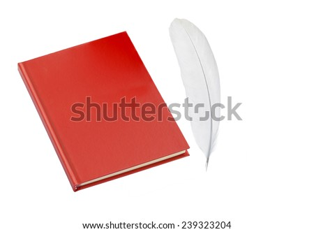 Blank red copybook template with elastic band and bookmark. A red leather book(diary, note) isolated white, top view. isolated on white background with clipping path.  - stock photo