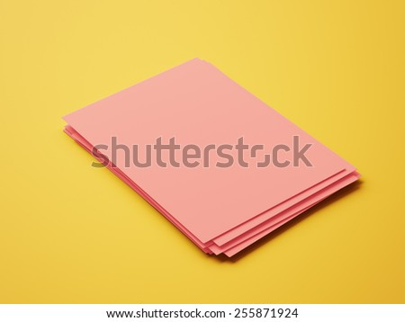 Blank Red Paper Notepad isolated on yellow background
