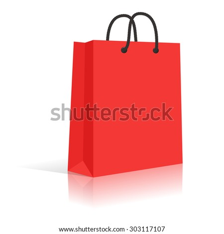 Blank Red Paper Shopping Bag With Black Rope Handles.