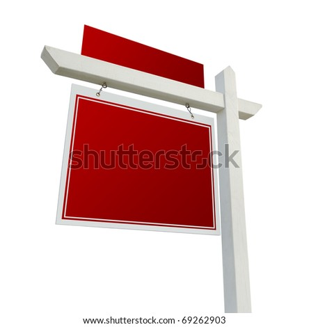 Blank Red Real Estate Sign Isolated on a White Background.
