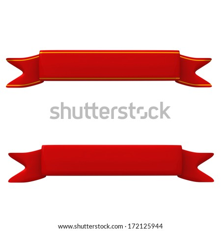 Blank red ribbon banner set, 3d - stock photo