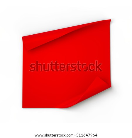 Blank red scroll banner. 3D rendering