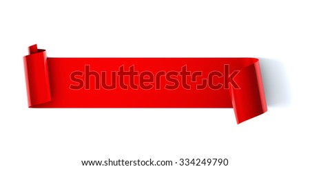 Blank red scroll ribbon banner - stock photo