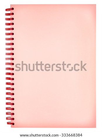 Blank red spiral notebook isolated on white background