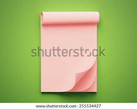 Blank Red Stack of Papers isolated on green background