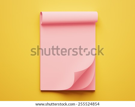 Blank Red Stack of Papers isolated on yellow background