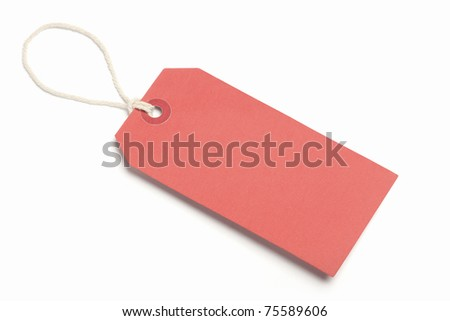 Blank Red Tag, isolated on white. - stock photo
