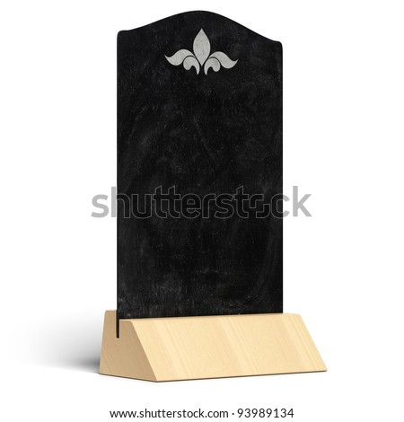 blank restaurant menu with a wooden support, chalkboard over white background - stock photo