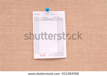 Blank Restaurant Receipt Hanging on Canvas Board Background
