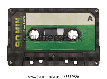 Blank Retro Music Tape Isolated on White Background. - stock photo
